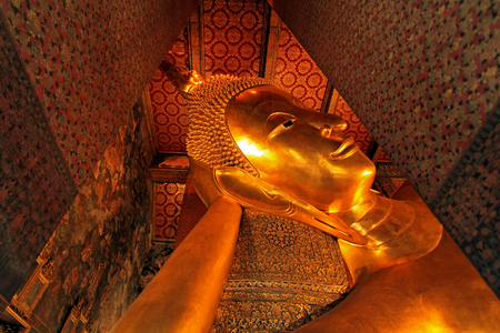 The big Buddha statue is sleeping in the temple at bangkok, Thailand