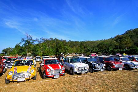 Nakhonratchasima, Thailand - December 20, 2014: Many Classic Austin Mini Cooper at Mini Mountain Festival of Thailand mini family club