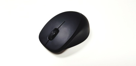 Black wireless or Bluetooth computer mouse isolated on white background -Input Device or Electronic tool and Technology concept 版權商用圖片