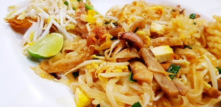 Close up Thai fried noodle or Pad Thai with squid, octopus or cuttlefish, lime sliced, vegetable and tofu on white plate  Famous Asian food in Thailand