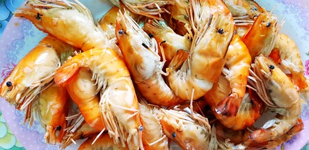 Many Grilled giant river shrimp or prawn in white plate for serving customer or sale at seafood restaurant - Group of animal, Food, Barbeque party and Lunch time