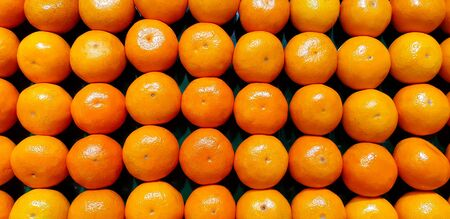 Many fresh oranges putting on shelf for sale at market or supermarket. Organic fruit, Food for good health, eating lifestyle and harvest of agriculture