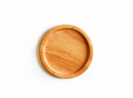 Brown wooden coasters isolated on white background. This object use for carry glass, bottle or drinking water.