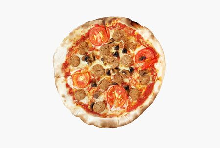 Pepperoni pizza with Thai sausage, sliced tomato, mushroom, mozzarella cheese isolated on white background with clipping path or make selection. This pizza cooked by using charcoal stove made.