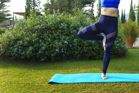 Asian woman in blue sport dress doing exercise with yoga on green mat at garden in the with tree background and copy space on left. Out door activity, Healthy lifestyle and Beauty of Nature concept
