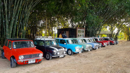 Nakhon Nayok, Thailand -December 5, 2020: Many Austin Mini cooper or classic car parked on street with bamboo forest and house or home background with copy space. Group of vintage or retro vehicle.
