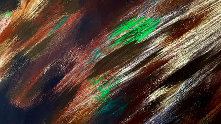 Art painted with brown, green, white, black on wall for background. Abstract wallpaper