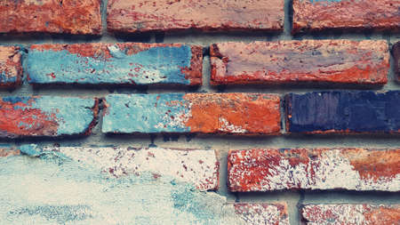 Painted brick wall for background in vintage tone. Pattern of brickwork wallpaper and Construction building. Rough or loft style and Exterior design.
