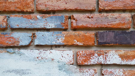 Painted brick wall for background. Pattern of brickwork wallpaper and Construction building. Rough or loft style and Exterior design.