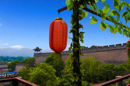 ancient buildings: overlooking the Shanxi ancient buildings & courtyard Stock Photo