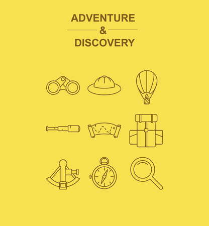 adventurers: Adventrue & discovery 12 icons pack with Sextant, Adventurers hat, binoculars, aerostat, Spyglass, treasure map, camping backpack, compass