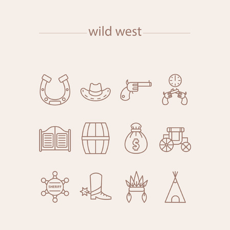 Wild west icons set with such icons as horseshoe, Sheriffs hat, revolver, duel, saloon, gate, barrel; cask, money bag, Stagecoach, Sheriffs badge, Sponges, Indian hat, indian tent Illustration