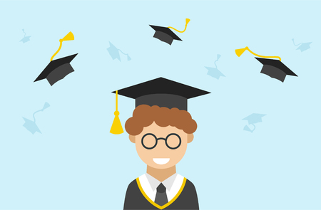 mania: Vector isolated illustration of Graduation ceremony with male student character in Graduate mania with goggles .flying academic hats, throw mortar boards in the sky on blue background