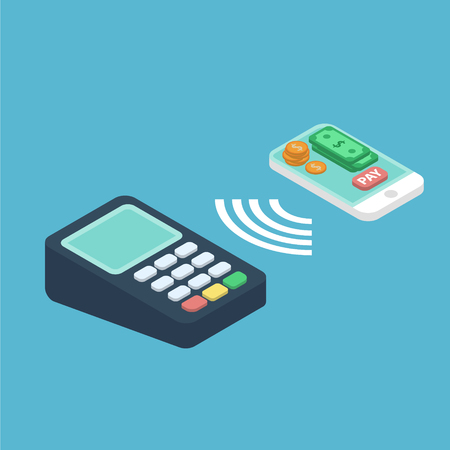 Wireless payment illustration. Isometric concept of contactless payment with terminal and smartphone with payment button dollar bills and coins on it . NFC payment 3d vector illustration