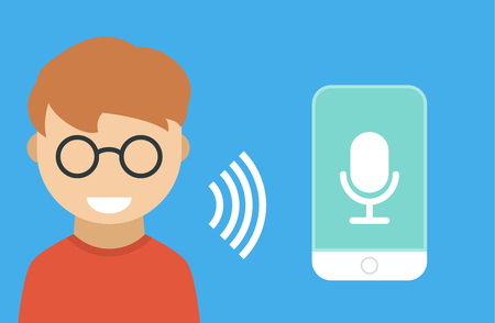 Male character using voice control for his phone. Isolated vector illustration of voice remote with character and phone Illustration