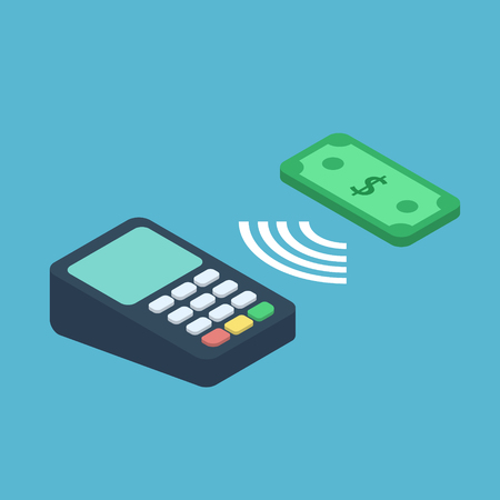internet terminal: Wireless payment illustration. Isometric concept of contactless payment with dollar and terminal. NFC payment 3d vector illustration Illustration