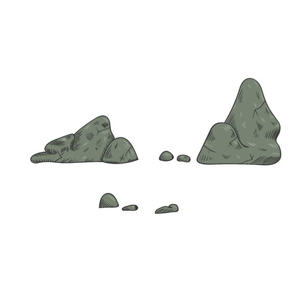 Rocks and stones single or piled for damage and rubble for game art architecture design Illustration