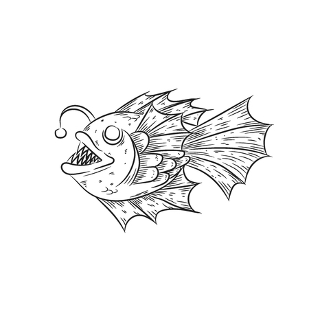 Anglerfish, deep sea fish illustration.