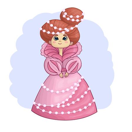 perls: Illustration of beautiful princess in pink dress with perls Illustration
