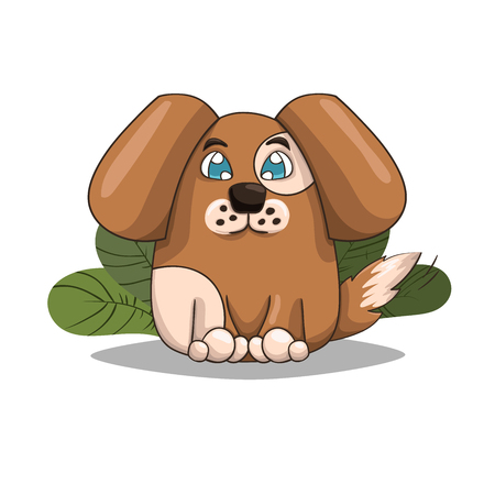 doggies: Cute puppy sits, vector illustration.