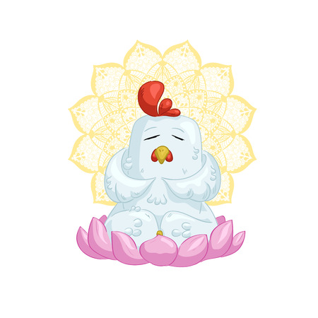 White chicken meditate on lotus with mandala Illustration