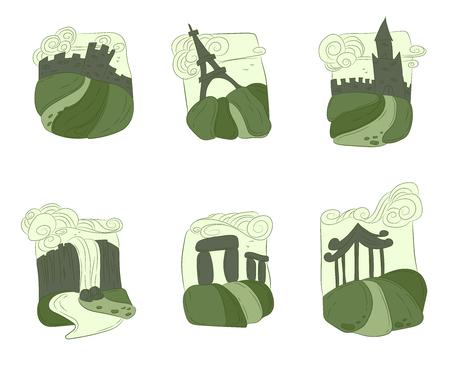 unesco: Unesco world heritage set buildings in green color palette