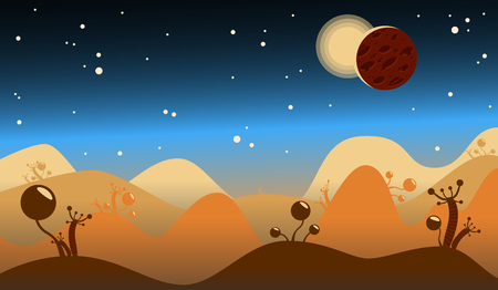 Cosmic landscape vector illustration. Mountains and plants. Blue background. Two planet and starts Illustration