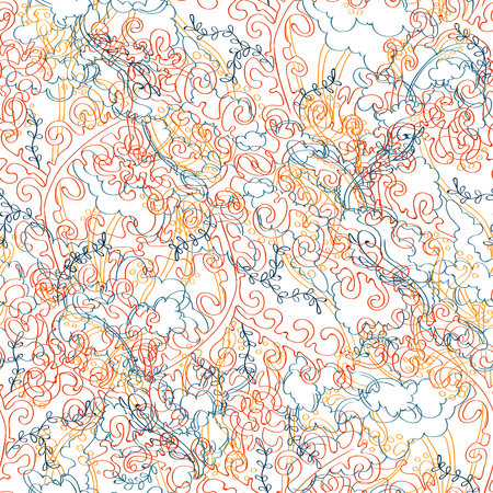 Vector organic seamless abstract background, botanical motif, freehand doodles pattern. Marble texture