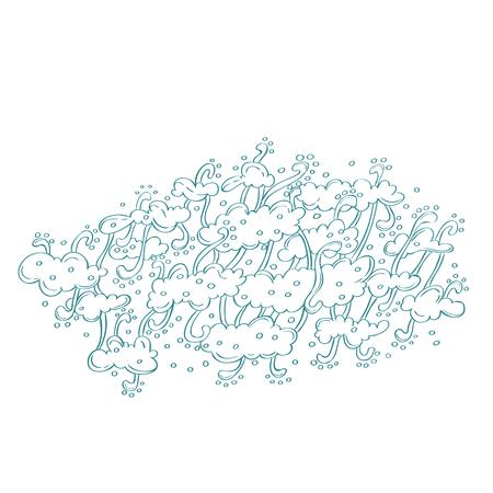 barbel: Hand draw doodles, vector illustration. Blue line art.