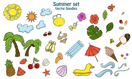 textille: Summer set with different items. Doodle hand draw. For icons, backgrounds and textille. Illustration