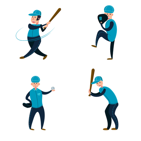 Baseball team: two batters, pitcher and catcher. Flat vector illustration. Cartoon style Illustration