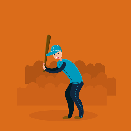 Baseball player - batter. Flat vector illustration in cartoon style