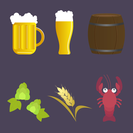 ale: Set of vector icon beer and appetizer: mug and glass, barrel, hop, malt, cancer. Flat design illustration
