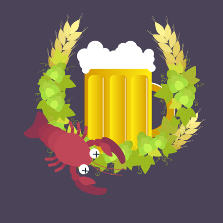 Beer mug with wreath of hops, rye and boiled cancer on dark background. Vector illustration.