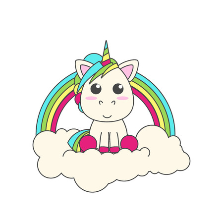 The unicorn sits on a cloud. Behind him is a rainbow. flat vector illustration for print Ilustrace