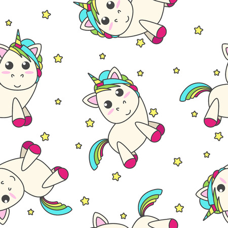 Rainbow unicorn with stars on a white background. Vector flat design for children. Seamless pattern.