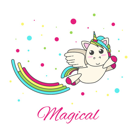 Flying unicorn with a rainbow and stars on a white background. Vector flat design for children.