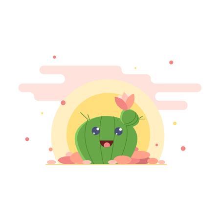 Cactus girl vector drawing. Cute cartoon female in love, funny flat illustration.