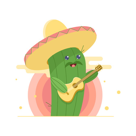 Cute cactus in sombrero, singing serenade and playing guitar. Sun on background. Flat cartoon illustration