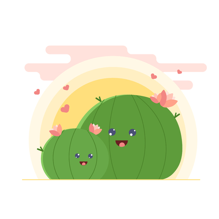 Cactus family vector drawing. Cute cartoon cacti mother and daughter in love, funny Motherss day illustration. Illustration