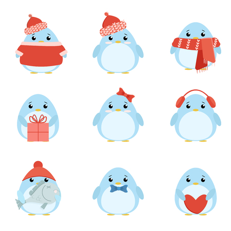 red balloons: Vector set penguins in warm clothes with different subjects: fish, cap, scarf, gift, heart, bow. Cartoon cute illustration