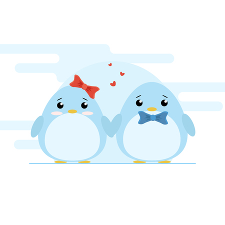 Cute couple of penguins on blue font. Cartoon vector illustration