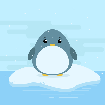 floe: Cute cartoon illustration of penguin on iceberg in antarctica. Cold weather with snow. Flat vector design Illustration