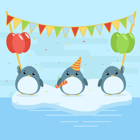 Cartoon illustration of three cute penguins with balloons and falgs on ice floe. Flat design for children