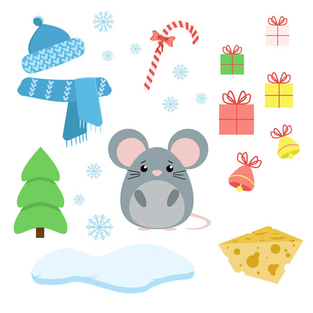 Vector set of mouse with xmas staff: lollipop, gifts, tree, iceberg, hat and scarf, fish and bells. Cartoon illustration Illustration