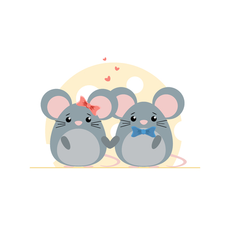 Cute couple of mouse on cheese background. Cartoon vector illustration Çizim