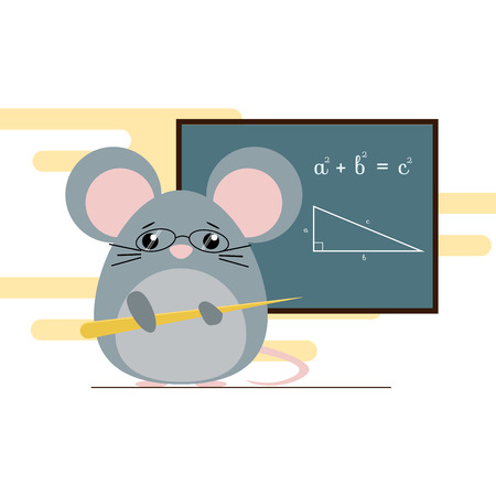 Vector illustration of mouse - teacher standing with board and teaching of geometry theorem. Cute flat design Illustration