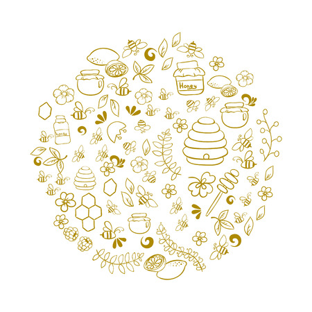 beekeeper: Line art vector hand drawn set of Honey cartoon doodle objects, symbols and items. Round composition