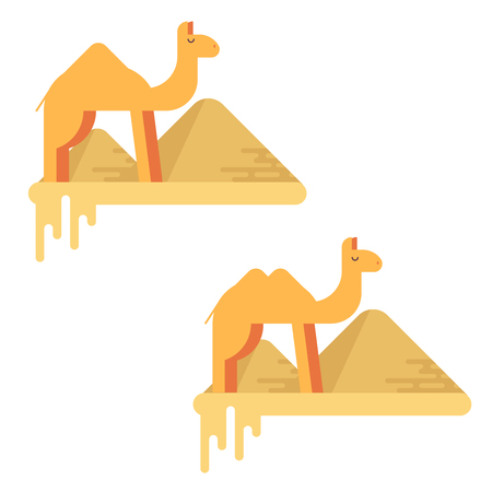 A set of two camels on the of pyramids of giza. Flat design illustration