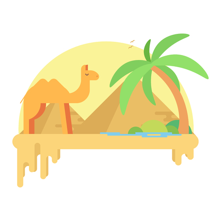 A camel stands near an oasis in the of the pyramids of a giza. Flat illustration